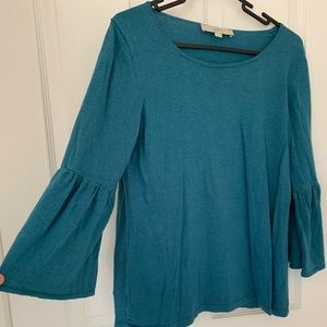 Gray/turq/blue three-quarter sleeve, bell sleeve